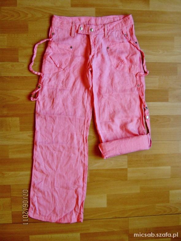 Spodnie SOCCX różowe spodnie lniane 100 len rozmiar M