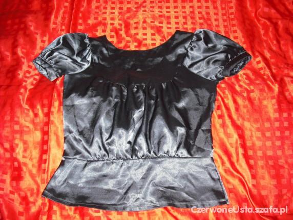 grafitowa bluzeczka bufki marszczenie polysk