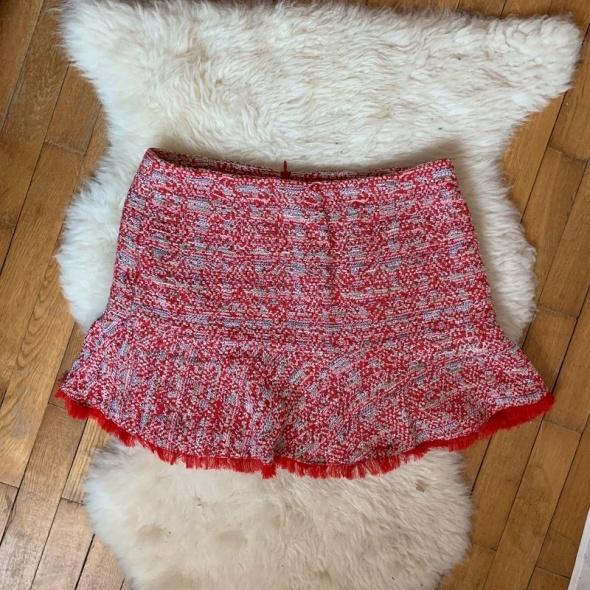 Tweedowa spódniczka mini Zara jak laurella czerwona L
