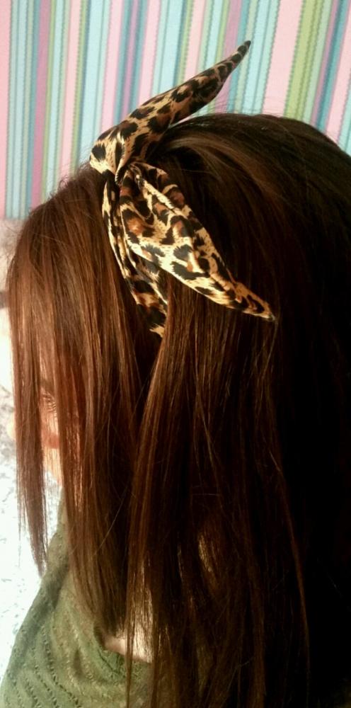 opaska na włosy na druciku panterka