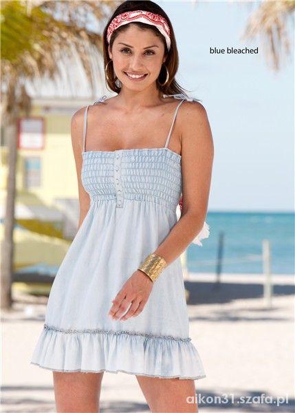 sukienko tunika na ramiaczkach jasno niebieska