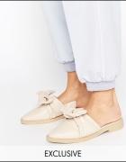 MARCH ASOS luksusowe sandały klapki chodaki z kokardą 36
