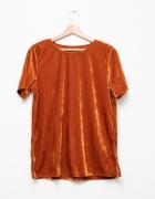 Welurowa aksamitna bluzka w kolorze miedzi Retro Vintage...