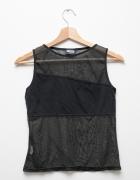 Czarna zwiewna koszulka top siatka retro vintage...
