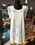 h&m sukienka koronkowa ecru zip na plecach 40 L