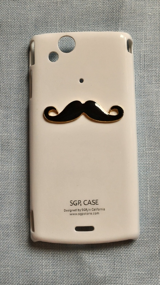Nowe etui case Sony Xperia Arc S białe wąsy wąs cz
