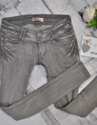 Troll Spodnie Jeansy Dżinsy Jasne Szare Proste Klasyczne Basic Casual Regular Mom Retro Cieniowane