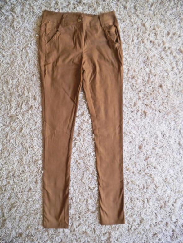 NOWE karmelowe spodnie M 38 jesień zima rurki