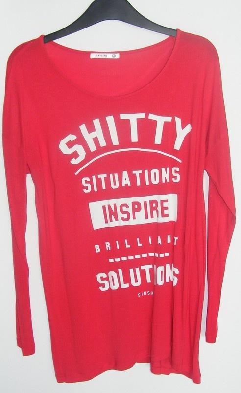 SINSAY Świetna bluzeczka z nadrukiem R S