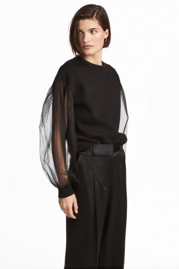 Bluzy H&M czarna dresowa bluza ściągacze rękawy baloniaste z tiulu organzy