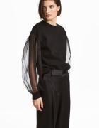 H&M czarna dresowa bluza ściągacze rękawy baloniaste z tiulu organzy