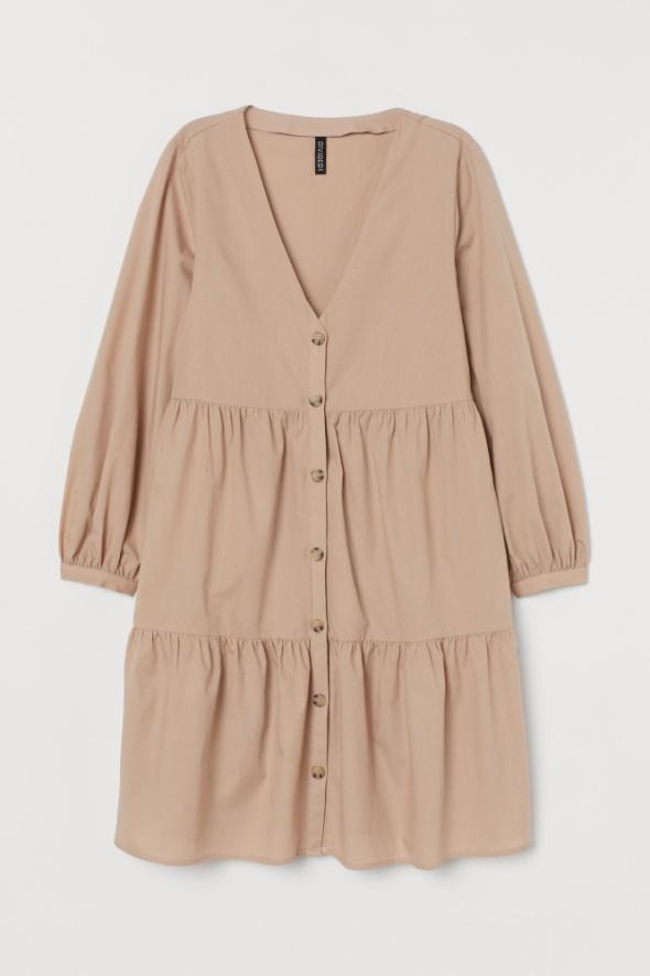 Suknie i sukienki H&M sukienka z dekoltem w serek V szeroka rękaw falbanki falbany guzik