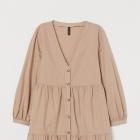 H&M sukienka z dekoltem w serek V szeroka rękaw falbanki falbany guzik
