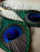 kolczyki lub klipsy pióra pawia szklane kamyki boho na lato