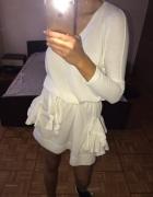 Lalu Swetrowa sukienka V dekolt wiązana falbanki kieszenie tresor