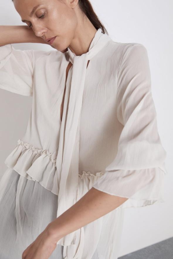 Zara tunika sukienka półprzezroczysta falbanki wiązana pod szyją