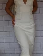 Biała sukienka odkryte plecy ślub cywilny poprawiny...