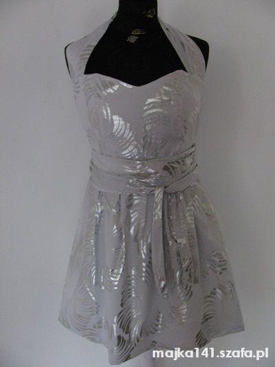 Suknie i sukienki RIVER ISLAND BIAŁA SUKIENKA W SREBRNE WZORY 40 42