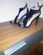 Sandały szpilki na obcasie 41 czarno złote 26 5 cm wkładka