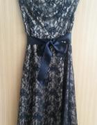 Sukienka koronkowa Orsay XS 34 złoto czarna