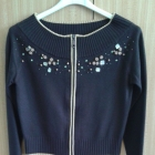 Brązowy sweter z ozdobą z koralików XS 34