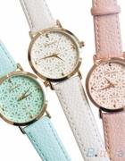 Nowy biały zegarek Geneva pasek skóra skórka biel...