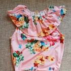 Nowy strój kąpielowy dziecięcy dziewczęcy 2 3 lata 100 falbana kwiaty różowy