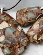 Jaspis cesarski elegancki zestaw w srebrze