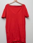 Czerwona sukienka mini oversize dresowa luzna...