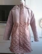 Różowa pikowana kurtka parka z kapturem asos S 36 oversize