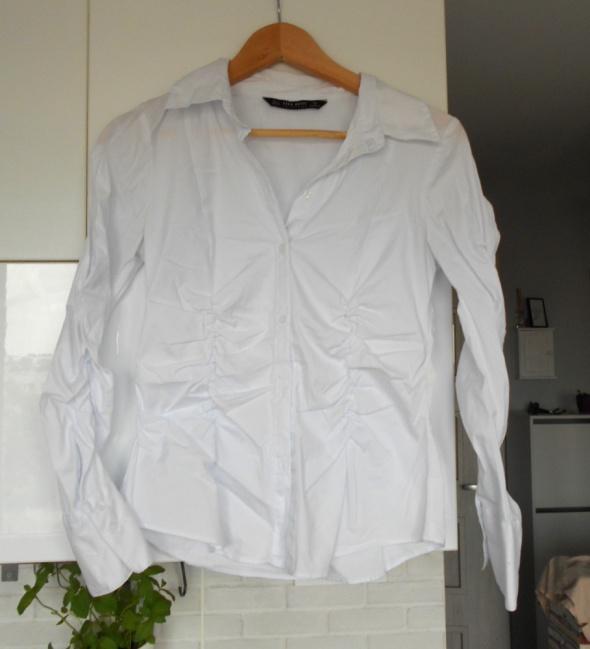 Zara biała koszula marszczenia wyszczuplająca minimalizm klasyk...