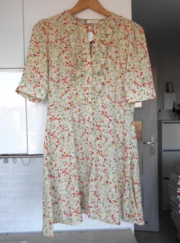 Zara nowa sukienka floral kwiaty żabot...