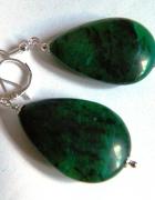 Chryzokola zielona duże kolczyki w srebrze...