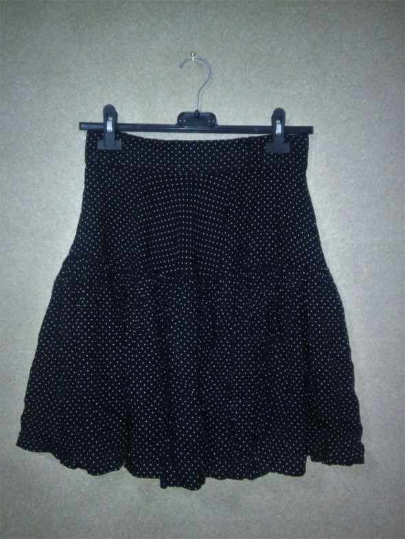Spódnice Czarna rozkloszowana spódnica w kropki 34