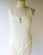 Body Białe Prążki XL 42 Gina Tricot Biel Sexy Bluzka Dekolt...