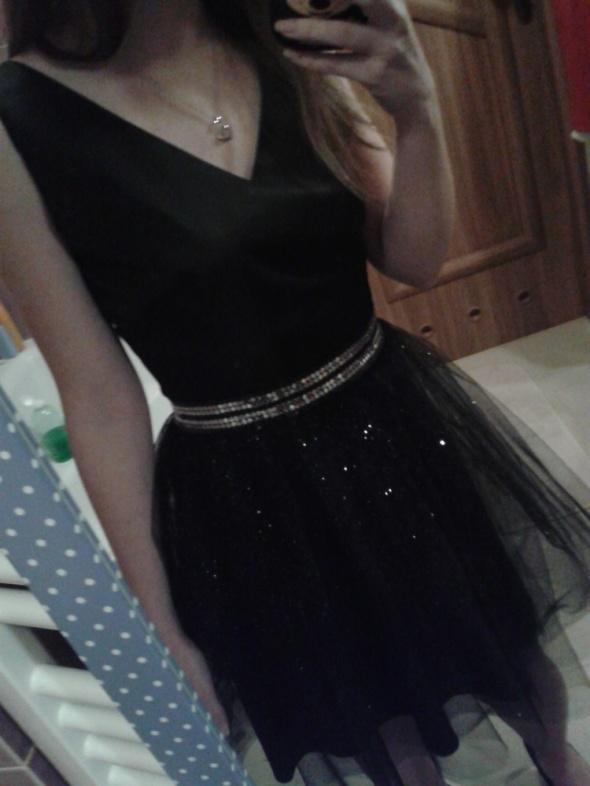 Sukienka czarna tiul brokat wesele studniówka 36 S 34 XS