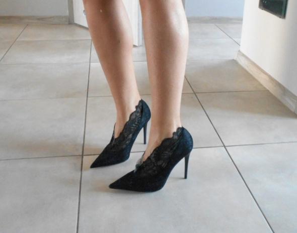 Zara nowe koronkowe szpilki czarne szpic 37...