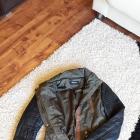 Kurtka parka z kapturem khaki M rękawy ze skórki