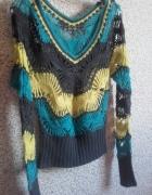 Uroczy sweterek S turkus żółty