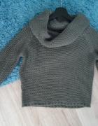 Sweter DIVERSE wełna szary golf XS S 34 36