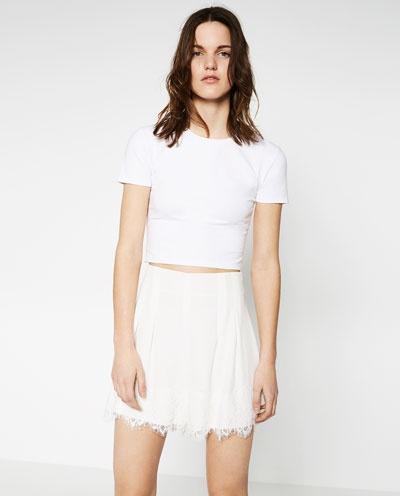 Spodenki Zara białe spodenki koronka M