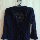 Czarna koronkowa bluzka XS S 34 36