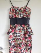 Baskinka sukienka kwiaty siatka XS S M L 34 36 38 z stanikiem n...