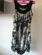 Sukienka mini tunika wzory czarno biała XS s 34 36...