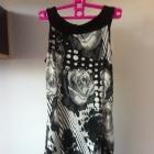 Sukienka mini tunika wzory czarno biała XS s 34 36