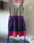 Letnia sukienka paski szara rozkloszowana XS S M L