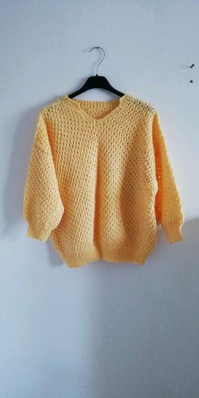 Sweter ażur żółty musztarda