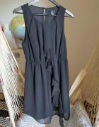 Sukienka 40 L H&M falbanka gumka w talii zwiewna mgiełka czarna...