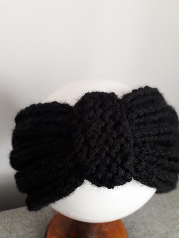 Opaska wełniana ręcznie robiona czarna