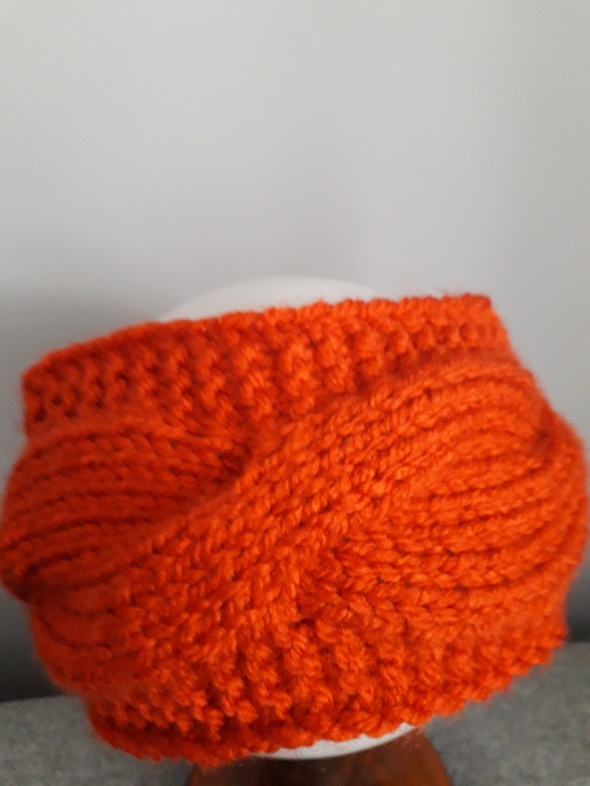 Opaska wełniana ręcznie robiona pomarańczowa